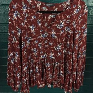 American Eagle Flowy Peplum Peasant Top Key Hole